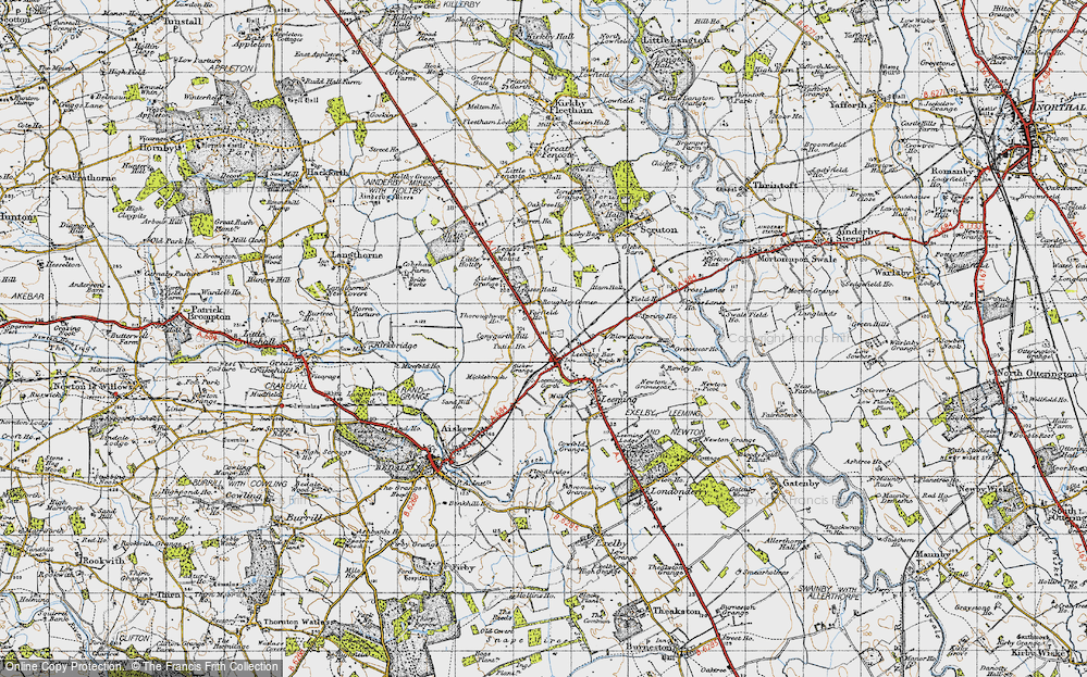 Old Map of Historic Map covering Leases Grange in 1947