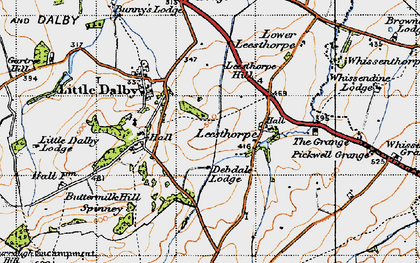 Old map of Leesthorpe Hill in 1946