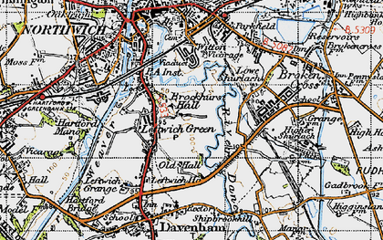 Old map of Leftwich in 1947