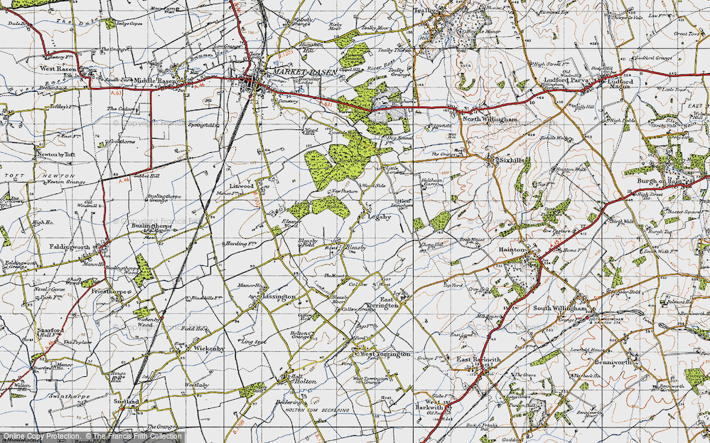 Old Map of Historic Map covering Legsby Wood in 1946