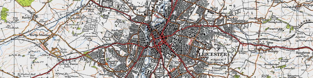 Old map of Leicester in 1946