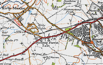 Old map of Leicester Forest East Service Area in 1946