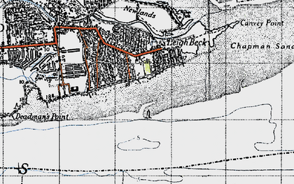Old map of Leigh Middle in 1946