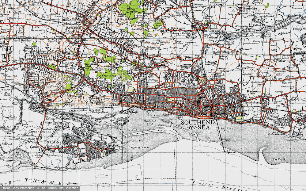Old Map of Leigh-on-Sea, 1945 in 1945