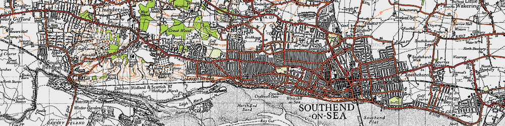 Old map of Leigh-on-Sea in 1945