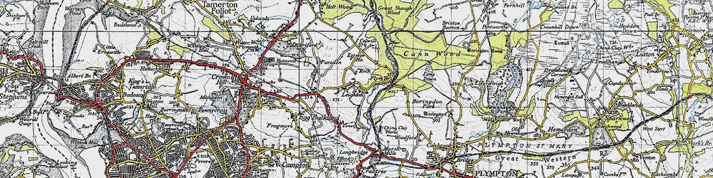 Old map of Plym Bridge in 1946