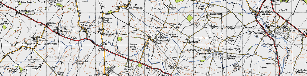 Old map of Leighton Bromswold in 1946