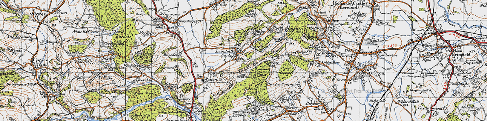 Old map of Whiteway Head in 1947