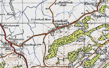 Old map of Leinthall Starkes in 1947