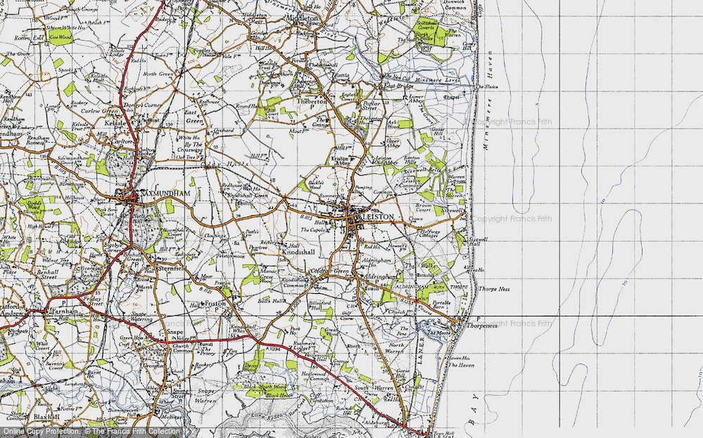 Old Map of Historic Map covering Leiston Common in 1946