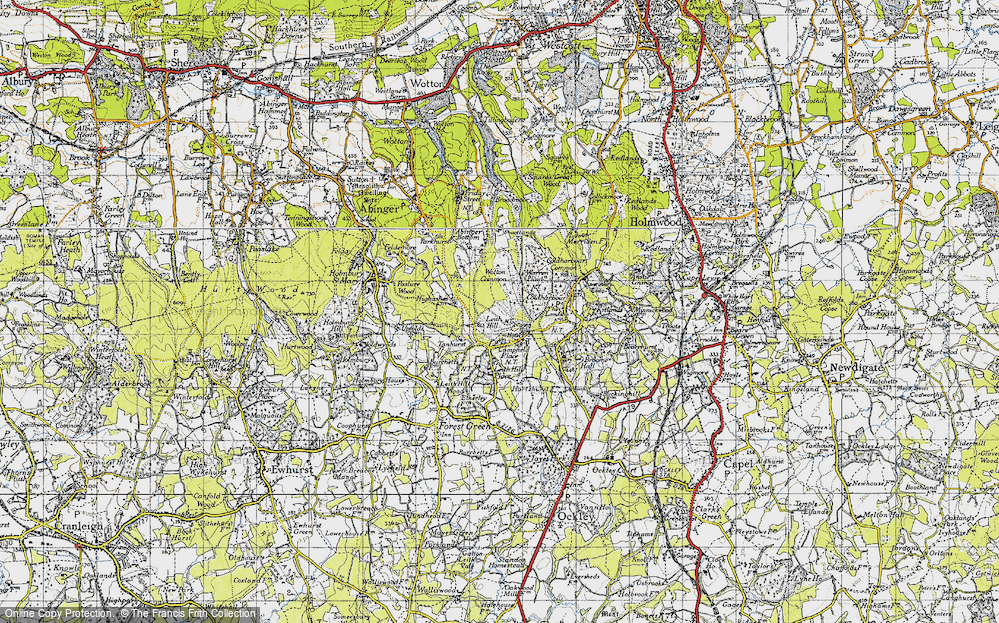 Old Map of Historic Map covering Leith Hill Place in 1940