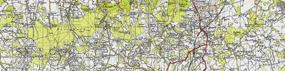 Old map of Leith Hill in 1940