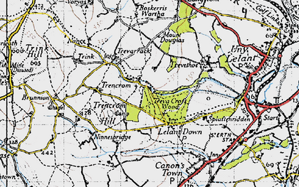 Old map of Lelant Downs in 1946