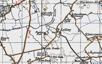 Old map of Lelley in 1947