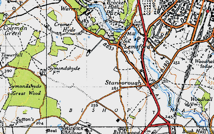 Old map of Lemsford in 1946