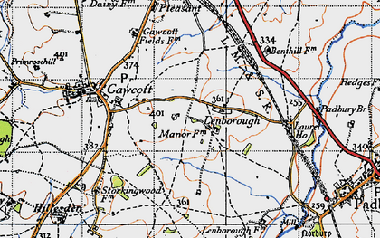 Old map of Lenborough in 1946