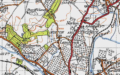 Old map of Lenchwick in 1946