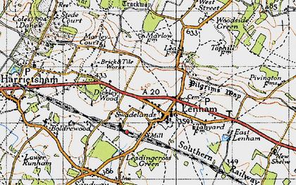 Old map of Lenham in 1940