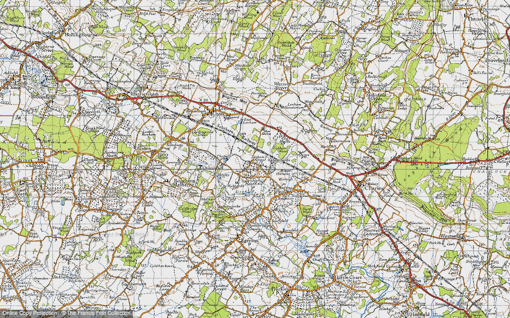 Old Map of Historic Map covering Kent in 1940
