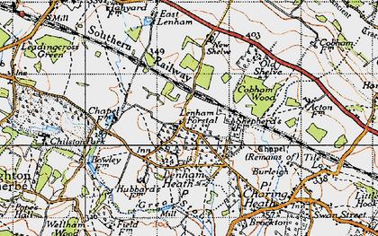 Old map of Lenham Forstal in 1940