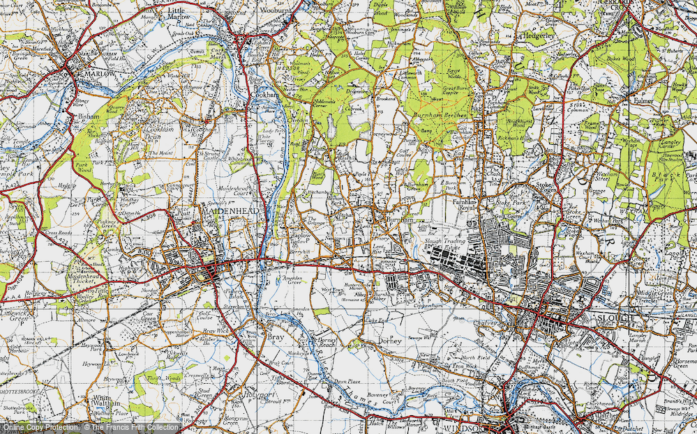 Old Map of Lent, 1945 in 1945