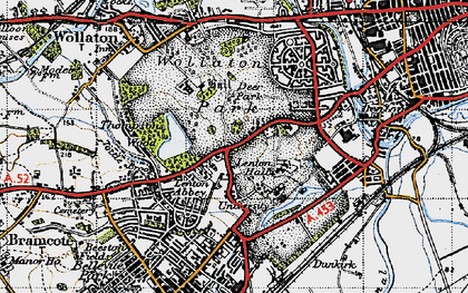 Old map of Lenton Abbey in 1946