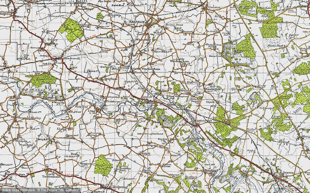 Old Map of Lenwade, 1945 in 1945