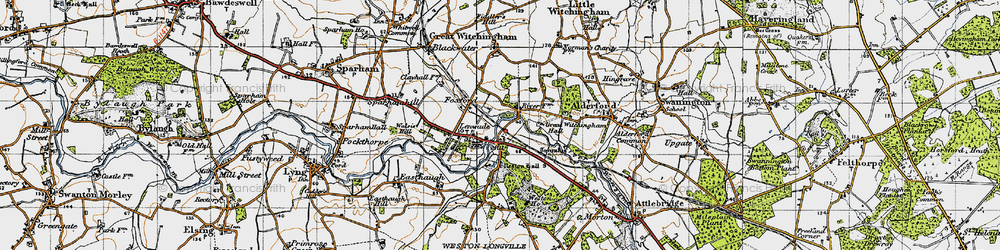 Old map of Lenwade in 1945