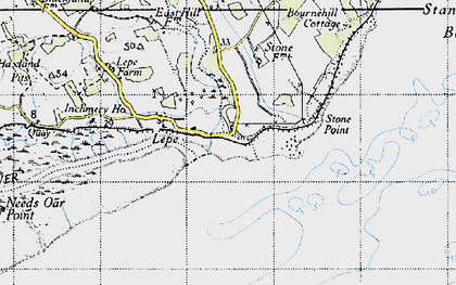 Old map of Lepe Country Park in 1945