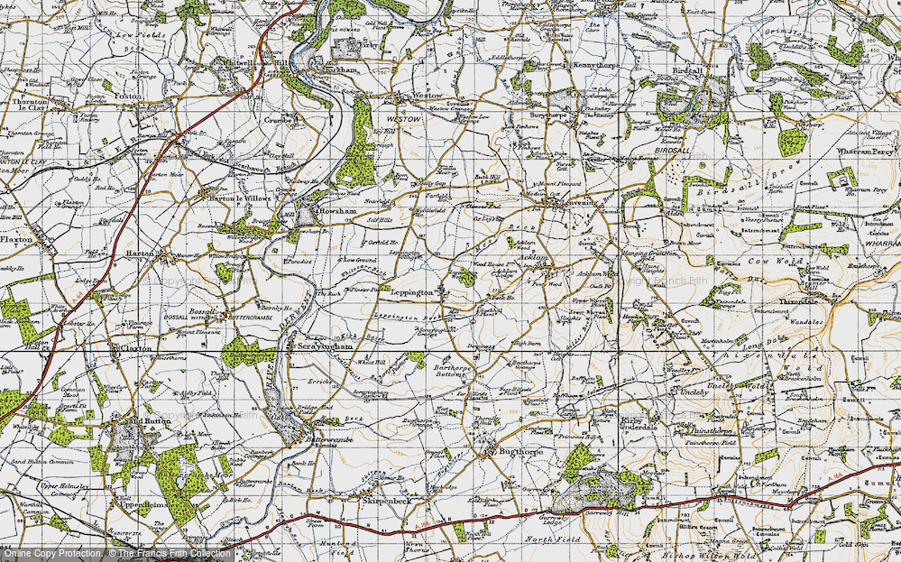 Old Map of Historic Map covering Acklam Wood in 1947