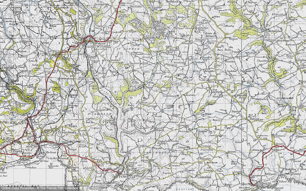 Old Map of Historic Map covering Langunnett in 1946