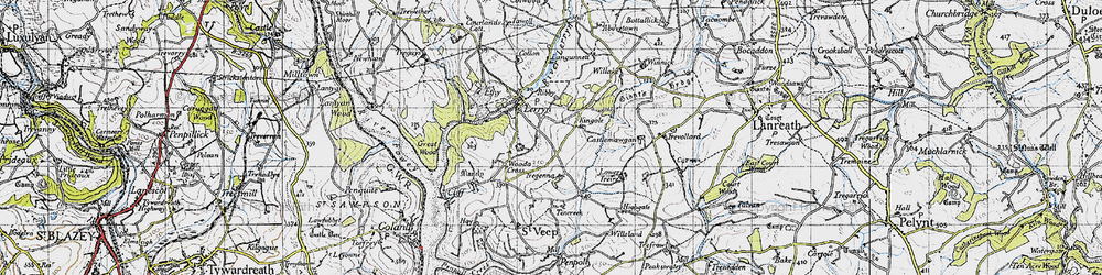 Old map of Collon in 1946