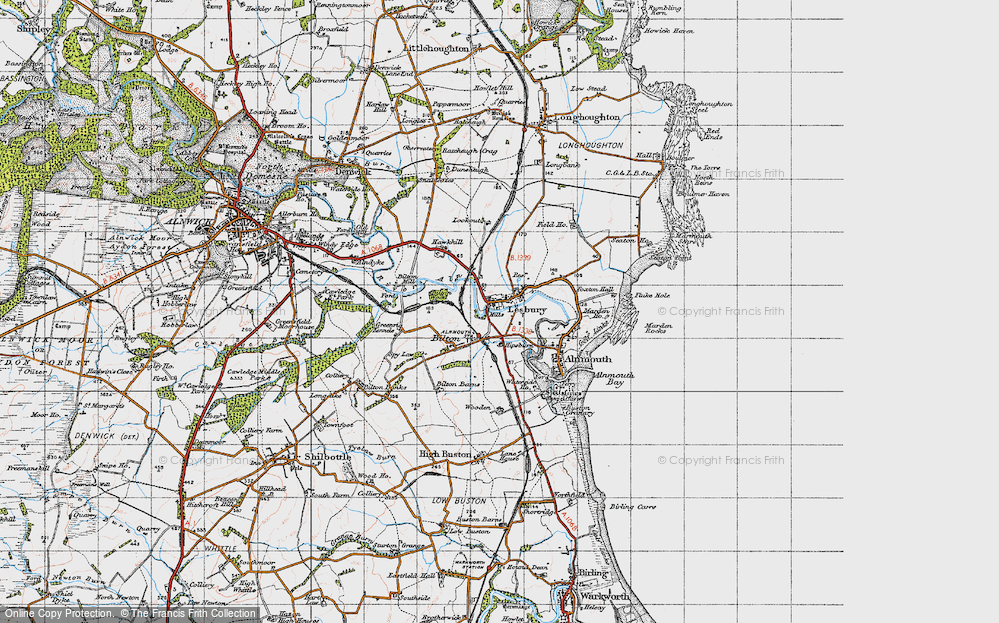Old Map of Lesbury, 1947 in 1947
