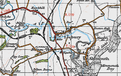 Old map of Lesbury in 1947