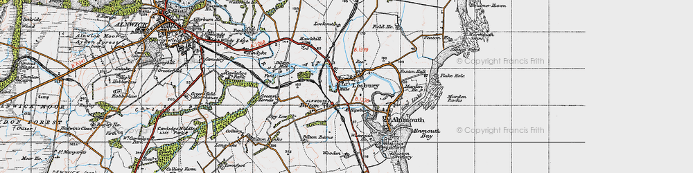 Old map of Alnmouth Sta in 1947