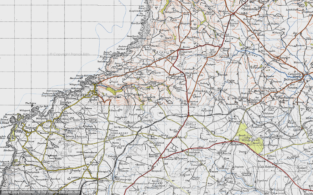 Old Map of Lesnewth, 1946 in 1946