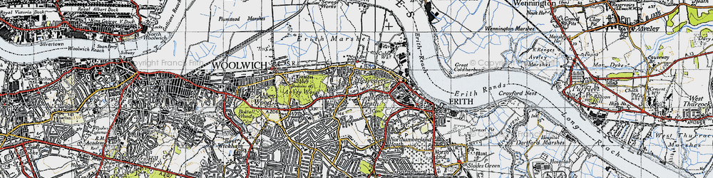 Old map of Lessness Heath in 1946