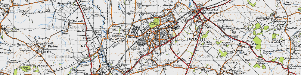 Old map of Letchworth Garden City in 1946