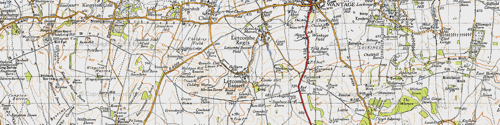 Old map of Letcombe Bassett in 1947