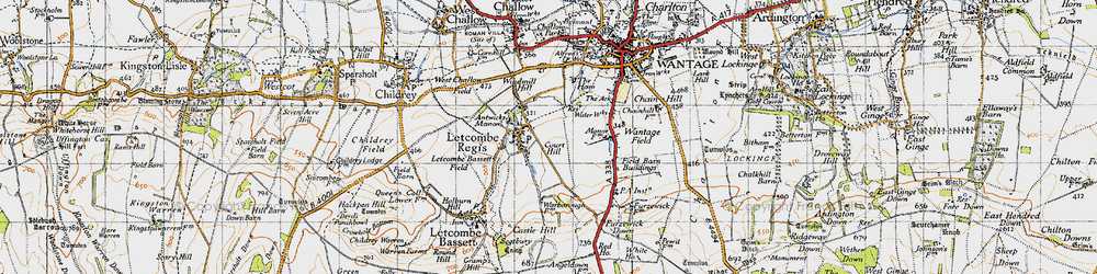 Old map of Letcombe Regis in 1947