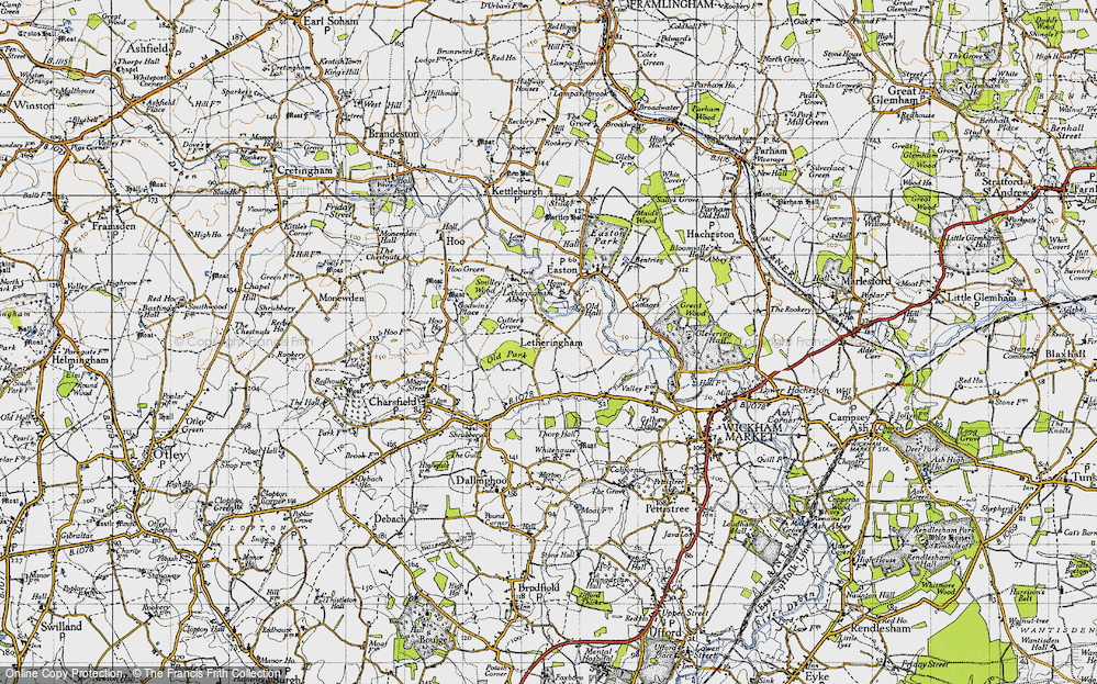 Old Map of Letheringham, 1946 in 1946