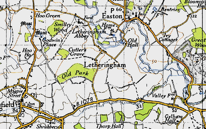Old map of Letheringham Lodge in 1946