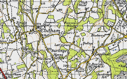 Old map of Lett's Green in 1946