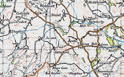 Old map of Lettaford in 1946