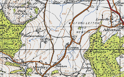 Old map of Letton in 1947