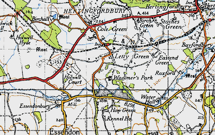 Old map of Letty Green in 1946