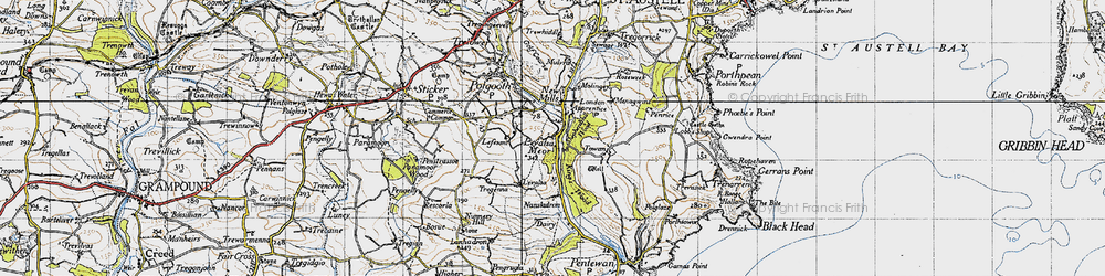 Old map of Levalsa in 1946