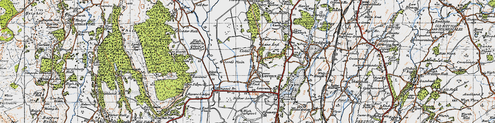 Old map of Levens in 1947