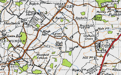 Old map of Levens Green in 1946