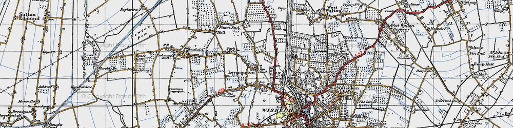 Old map of Leverington in 1946